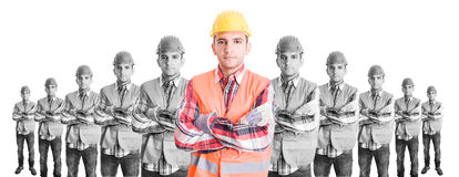 Chief constructor with builders team Royalty Free Stock Photography