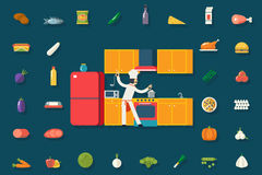 Chief Cook Food and Dish Room Kitchen Furniture Stock Image