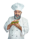 Chief cook  holding  big sandwich Stock Images