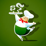 Chief cook serving a delicious italian pizza Royalty Free Stock Images