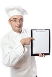 Chief cook showing menu Stock Photos