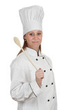 Chief cook woman. Woman wearing chef cook uniform, white background Royalty Free Stock Photos