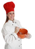 Chief cook woman. Woman wearing chef cook uniform with red hat Stock Image