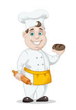 Chief-cooker with bread and rolling-pin Stock Photos