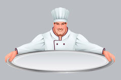 Chief cooker keeps large empty tray. Isolated vector cartoon illustration vector illustration