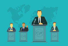 Chief deputy on the rostrum tribune. Politics events International Assembly, the policy of government nation president. Deputies behind the podium. Stands to Royalty Free Stock Photos