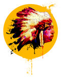 Chief!. Digital drawing of an indian chief Stock Photos