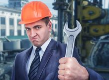 Chief engineer on the building site Stock Images