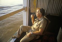 Chief engineer on the Delta Queen, a relic of the steamboat era of the 19th century, Mississippi River Stock Photography