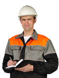 The chief engineer in a helmet Stock Images