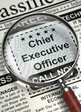 Chief Executive Officer Hiring Now. 3D. Chief Executive Officer - Close Up View Of A Classifieds Through Magnifying Glass. Chief Executive Officer - Small Ads Stock Photo