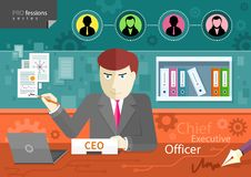 Chief executive officer sitting at table in office Royalty Free Stock Photos
