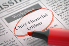 Chief Financial Officer Join Our Team. 3D. Newspaper with Small Ads of Job Search Chief Financial Officer. Blurred Image. Selective focus. Job Seeking Concept Stock Photo