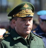 Chief of the General staff of the Russian armed forces — first Deputy defense Minister, army General Valery Gerasimov. MOSCOW, RUSSIA - MAY 07, 2017: Chief of Royalty Free Stock Photography