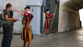 Chief of guard of Papal Swiss guard stock footage
