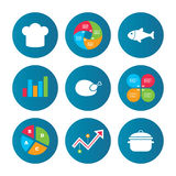 Chief hat, cooking pan icons. Fish and chicken. Royalty Free Stock Images