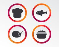 Chief hat, cooking pan icons. Fish and chicken. Chief hat and cooking pan icons. Fish and chicken signs. Boil or stew food symbol. Infographic design buttons Stock Image