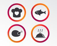 Chief hat, cooking pan icons. Fish and chicken. Chief hat with heart and cooking pan icons. Fish and chicken signs. Hot food platter serving symbol. Infographic Royalty Free Stock Images