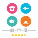 Chief hat, cooking pan icons. Fish and chicken. Royalty Free Stock Image