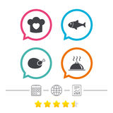 Chief hat, cooking pan icons. Fish and chicken. Royalty Free Stock Photo