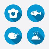 Chief hat, cooking pan icons. Fish and chicken Royalty Free Stock Image