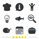 Chief hat, cooking pan icons. Fish and chicken. Chief hat and cooking pan icons. Fish and chicken signs. Boil or stew food symbol. Information, light bulb and Stock Photo