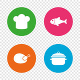 Chief hat, cooking pan icons. Fish and chicken. Chief hat and cooking pan icons. Fish and chicken signs. Boil or stew food symbol. Round buttons on transparent Stock Photos