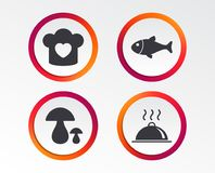 Chief hat, cooking pan icons. Fish and mushrooms. Chief hat with heart and cooking pan icons. Fish and boletus mushrooms signs. Hot food platter serving symbol Stock Images