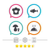 Chief hat, cooking pan icons. Fish and mushrooms. Royalty Free Stock Images