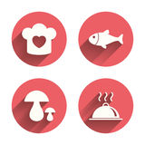 Chief hat, cooking pan icons. Fish and mushrooms Stock Photos