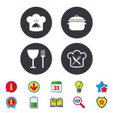 Chief hat, cooking pan icons. Fork and knife. Stock Photography