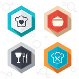 Chief hat, cooking pan icons. Fork and knife Royalty Free Stock Images