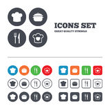 Chief hat, cooking pan icons. Fork and knife Stock Photography