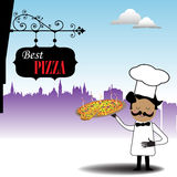 Chief with hot pizza. Colorful background with chief holding a hot pizza. Best pizza concept Royalty Free Stock Photos