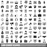 100 chief icons set, simple style. 100 chief icons set in simple style for any design vector illustration Stock Photography