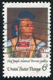 Chief Joseph. UNITED STATES - CIRCA 1968: stamp printed by United states, shows Chief Joseph, by Cyrenius Hall, circa 1968 Royalty Free Stock Photos