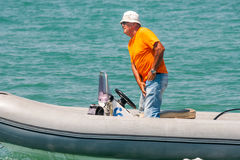 The chief judge of the competition sailing. Pomorie, Bulgaria Stock Photography