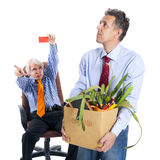 Chief kicks out the dismissed worker Stock Photography