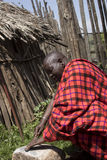 Chief in krall in Maasi Village, Ngorongoro Conservationa Area, Royalty Free Stock Image
