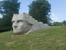 Chief Leatherlips. Wyandot Chief Leatherlips stone monument in a park in Dublin, Ohio stock photography