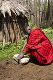 Chief in livestock krall in Maasi Village, Ngorongoro Conservati Royalty Free Stock Images