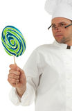 Chief with lollipop Royalty Free Stock Images