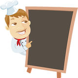 Chief and menu blackboard Stock Photography