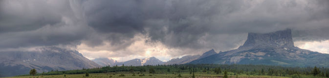 Chief Mountain Storm Panorama Royalty Free Stock Photography
