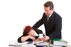Chief offering sleeping employee Stock Photo