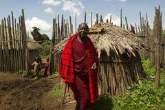 Chief outside hut in Maasi Village, Ngorongoro Conservationa Are Stock Photos