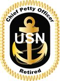 Chief Petty Officer Retired in black United States Navy USN logo decal vector .eps .ai gold rank golf cart DIY. Have you retired from the Navy and looking to Royalty Free Stock Image