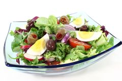 Chief salad. With egg, olives, tomatoes, onions, radishes and leaf salad royalty free stock photo