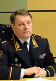 The chief of security of traffic of the Ministry of internal Affairs of Russia the General-the Lieutenant of police Victor Nilov. Royalty Free Stock Photo