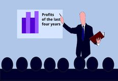 A Chief is Speaking to his Employees. He shows the profits of the last four years in a column diagram. This is a vector illustration Stock Photography